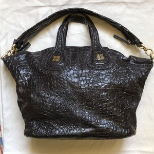 Auth. Givenchy Nightingale Satchel Croc-Embossed